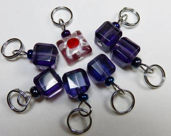 Hand Made Stitch Markers -- Crystal Cubes -- Purple