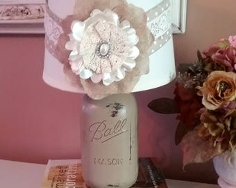 Distressed French Country Mason Jar Lamp With Burlap Floral Shade, Country Lamp, French Farmhouse Decor, Shabby Chic, Country Cottage