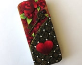 Red Rose Garden with a Key to My Heart Valentine Sewing Needle Case , Polymer Clay Covered Tin, Magnetic Needle Case