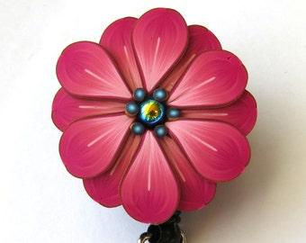 Pink Flower ID Badge Reel, Scissor Keeper, ID Lanyard, Scissor Fob