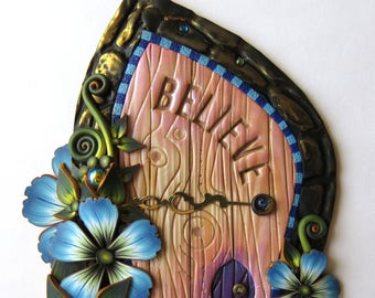Believe Fairy Door Miniature Pixie Portal , Home and Garden Decor, Polymer Clay Door, Tooth Fairy Entrance