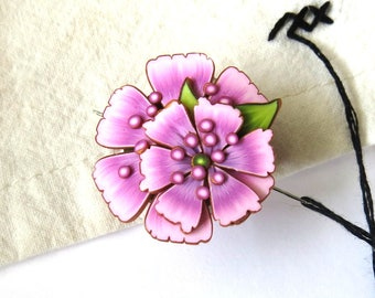 Pink Blossom Flower Needle Minder, Magnetic Needle Nanny Handcrafted from Claybykim