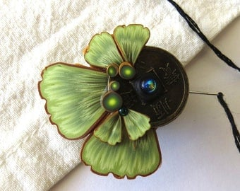 Ginkgo Leaf Needle Minder with a Lucky Coin Magnetic Sewing Notion Handcrafted from Claybykim