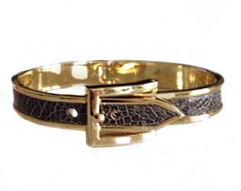 Gold Buckle Bracelet With Genuine Grey Ostrich Leather  - by UNEARTHED