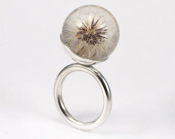 Dandelion Resin Ring, Sterling Silver Ring, Resin Jewellery, Dandelion Ring