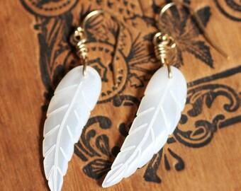 Angel wing earrings, white feather earrings, mother of pearl earrings, 14k gold filled, dangle earrings, bohemian earrings, gift for her