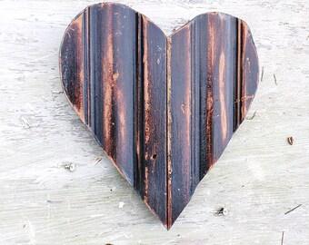 Black Heart, Nursery Decor, Reclaimed Wood Heart, Valentines Heart, Reclaimed Wood Decor,Primitive Heart, Distressed heart Farmhouse Decor