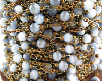 """Vintage Baby Blue """"Tigers Eye"""" Glass Beaded Chain with Cable Links (4 Feet) (CP247)"""