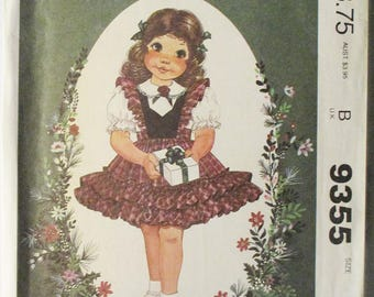 1980s Childs Sewing Pattern McCalls 9355 Toddlers Dress Pattern Little Darlings Pattern Size 1, 2, 3 Uncut