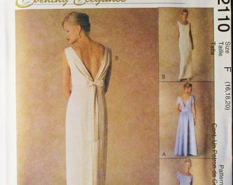 Misses Sewing Pattern McCalls 2110 Misses Dress Pattern Evening Gown Pattern Size 16, 18, 20 Uncut
