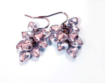 Cluster Earrings, Stormy Hearts, Gray Luster Glass and Gunmetal Silver, Dangle Earrings, FREE Shipping U.S.