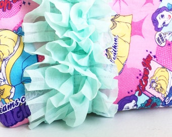 Beauty and the Beast -- everyday ruffle pouch *ready to ship*