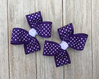 Purple and White Polka Dot Hair Bows,Pigtail Hair Bows,Alligator Clips,3 Inches Wide,Birthday Party Favors