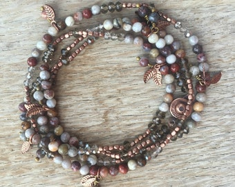 Walk in the Woods Beaded Necklace or Wrap Bracelet