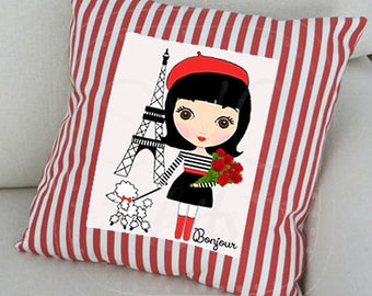 Paris Doll Digital INSTANT DOWNLOAD Art Image, Ready to Print, HTV Fabric, Cards, All Occasion Note Cards, Cricut, Silhouette png svg file