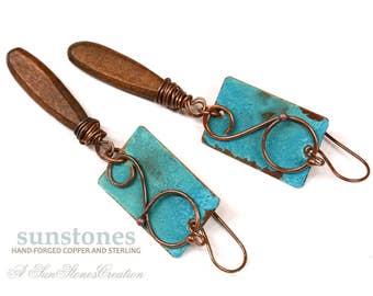 Rustic Copper Earrings  E990