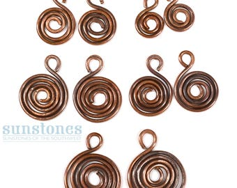 Handmade Rustic Copper Jewelry Components, Spirals in Graduated Sizes - 10 pieces JC738