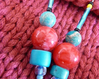 Tibetan Tower Power. jewelry, earrings, blue, turquoise, red, dangle, beed, glass, ceramic, gift for her.