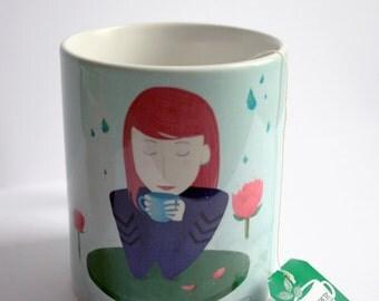 Tea time - illustrated mug - goes in microwave, dishwasher, etc