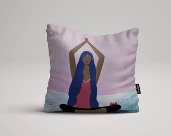 I am Yoga - Illustrated throw pillow cover