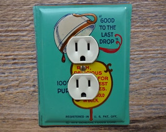 Green Kitchen Decor Maxwell House Coffee Tin Lighting Outlet Cover Plate Vintage Farmhouse Colonial Antique OLC-1048