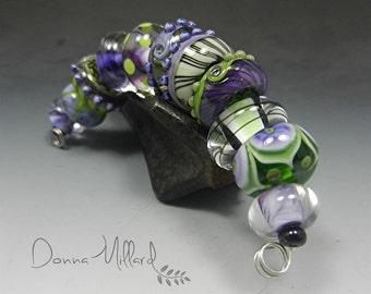 SRA HANDMADE LAMPWORK Glass Bead Set Donna Millard organic lime green purple spring summer statement jewelry boho wearable art orchid