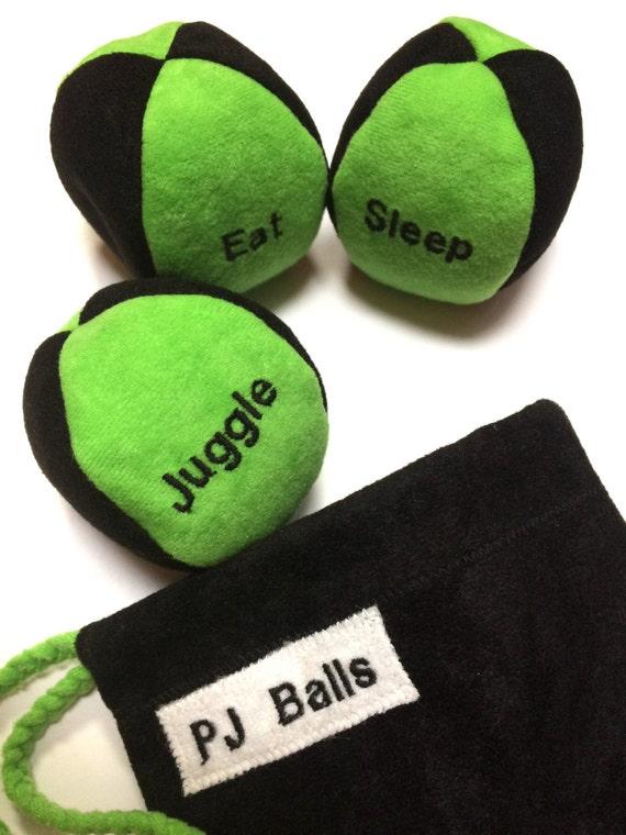 95g - 3 SOFT JUGGLING BALLS With Bag - Black and Bright Green - Eat Sleep Juggle