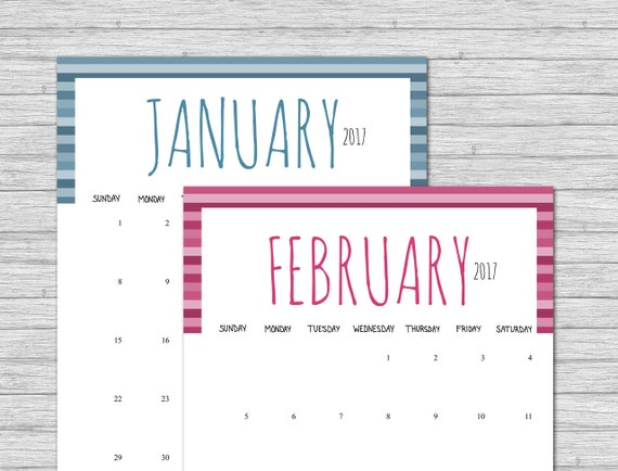 2017 Calendar, Printable Calendar, Stripes, Printable Monthly Calendar, Calendar Pages, Portrait Calendar, Calender, Instant Download