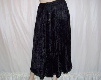 Black Velvet Skirt Vintage Hippie Boho Goth Gothic Maxi Skirt Crushed Panne Velvet 80s Vtg Gypsy Cruise Resort Adult S-L Black Midi Skirt
