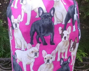 French Bulldog knitting project bag, WIP bag, drawstring bag, Suebee