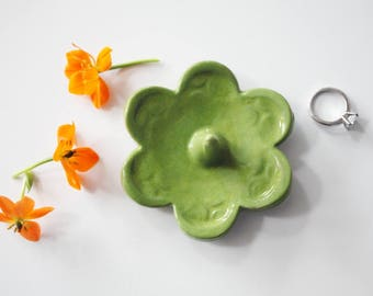 Ring Holder - Chartreuse Ring Dish - Flower Shape Ring Holder