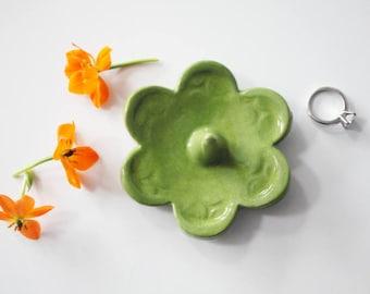 Ring Holder - Chartreuse Ring Dish - Flower Shape Ring Holder