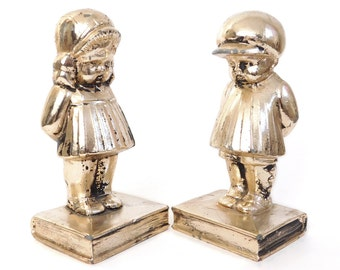 1920s Distressed Silver Boy and Girl Bookends - Vintage Silver Plated Cast Iron Chubby Cheeked Shy Children Statuettes - Vintage / Antique