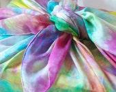 Rainbow Playsilk Gift Wrap (Reusable, Natural, Eco-Friendly): Hand Dyed Silk for Furoshiki Wrapping