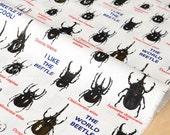 Japanese Fabric I like the beetle - white - 50cm
