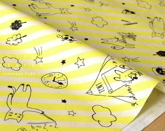 Japanese Fabric Lecien forest school - yellow - fat quarter
