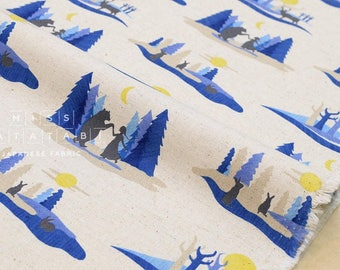 Japanese Fabric Kokka Mina Chape - Story of a Forest - blue, natural - fat quarter