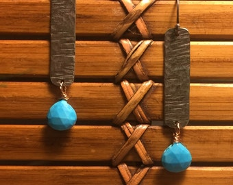 Hammered silver and Turquoise Dangles