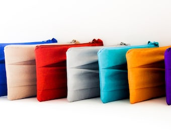 "Pleated Bridesmaid Clutch- Simple Bridesmaid clutch- Various colors- Size 5""x 10"""