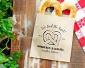 Soft Pretzel Favor Bags - We Tied the Knot - Personal Wedding Bag - Design 2 - Giant Pretzel Favor - 20 Customized Grease Resistant Bags