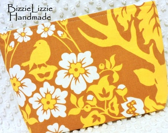 Antler Damask Fabric Large Flat Bottom Make Up Pouch, Large Cosmetic Bag in Golden Yellow and Brown