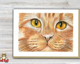 CAT CARD. Orange Tabby Cat Face. Orange Cat Greeting Card.  5X7 Framable Cat Card.  Ginger Cat Art, Orange Tabby Art.
