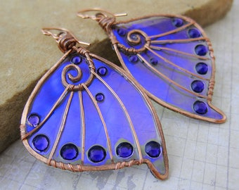 Sihaya Designs Faery Wing Earrings - The Unseelie Host - Iridescent Fairy Wing Jewelry