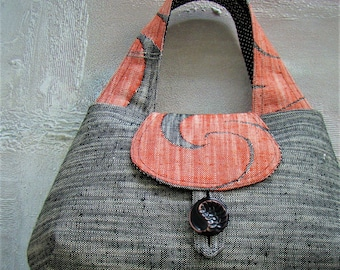 Vintage Obi Tote - gray and orange