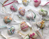 Easter Egg Strands - Springtime Quilty Garland - Novelty, OOAK, Folk Art Party Decor