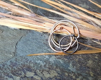 24g nose ring-- 14k solid gold, sterling silver or niobium hoop-- primitive series-- handmade by thebeadedlily
