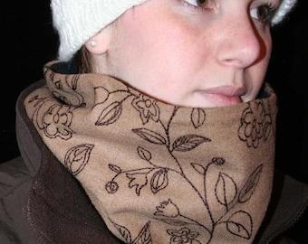 ON SALE Cowl, Scarf, Neckwarmer, Dark Beige Wool, Brown embroidered Floral