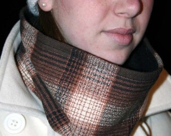 ON SALE Cowl Scarf, Neckwarmer, Brown Ivory Wool Flannell Plaid
