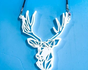 Deer with Antlers 3d Printed Necklace - Plastic Jewelry - ABS - artistic necklace - 3d printed Jewelry
