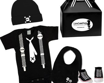 Baby Boy Rockstar Kit Skull Tie & Suspenders black romper booties hat Bib